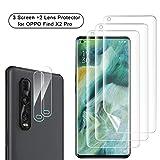 NEWZEROL 3 Stück Displayschutzfolie + 2 Stück Kameraschutz für Oppo Find X2 Pro 5G [Unterstützung für Fingerabdruck-ID] Anti-Blase TPU 3D [Vollabdeckung] Sanft Bildschirmschutz