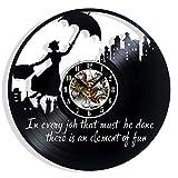Kompatibel mit Mary Poppins Vinyl-Schallplatten-Wanduhr, Geschenk, Überraschungsideen, beste Freunde, Geburtstage, Dekoration, Kunst