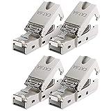 deleyCON 4X CAT 6a Werkzeugloser RJ45 Netzwerkstecker mit LSA Anschluss für Starre Verlegekabel Geschirmt 10Gbit/s LAN Kabel Netzwerkkabel Stecker CAT6a Metallg