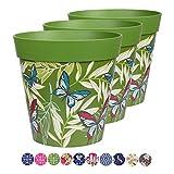 Hum Blumentöpfe im 3er-Set, Kunststoff, Schmetterlinge und Palmwedel, grün, farbenfrohe Pflanzgefäße, Blumentöpfe für drinnen und draußen, 22 x 22 cm