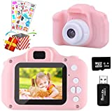 Temont Kamera Kinder für Jungen Mädchen,Digitalkamera Kinder 2 Zoll HD-Bildschirm 1080P 32 GB TF-Karte,Fotoapparat Kinder Jungen Mädchen Geschenke Spielzeug für 4 bis 9 Jahre alte Weihnachts (Rosa)