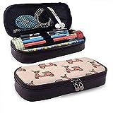 Handgezeichnet mit Retro-Roller Leder Federmäppchen Tasche mit Reißverschluss Stift Box, große Kapazität Briefpapier Box