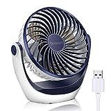 USB Ventilator, OCOOPA Ventilator klein Tischventilator mit starkem Luftstrom und Leise Betrieb 3 Geschwindigkeiten, 360 ° Drehbarer Kopf, Einfach zu Tragen für Büro, Zuhause und im Freien(Dunkelblau)