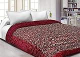 FEELRAX FRXS153 Steppdecke für Doppelbett, Seide, Blumenmuster, Kastanienbraun