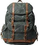 EURYNOME Rucksack aus gewachstem Segeltuch, hohe Dichte, dicker Segeltuch-Rucksack, echtes Leder, Tagesrucksack für Reisen, Schule (blaugrün)