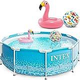 INTEX 28206 Metal Frame Swimming Pool 305x76 cm Schwimmbecken Schwimmbad mit Extra-Zubehör wie: Schwimmring und Strandball