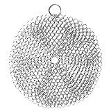 Hemoton Gusseisen Reiniger Ringreiniger Edelstahl 6 Zoll Rund Silber Reiniger für Bratpfannen Grillpfannen Woks Topf und Mehr Küche Grill Reinigungswerkzeuge
