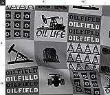 Spoonflower Oilfield Patchwork-Stoff in Quadrate für Babys, Derrick Grau auf Baumwoll-Popeline-Stoff, Meterware zum Nähen, Hemden, Quilten, Kleider, Bekleidung, Basteln