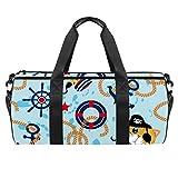 Runde Sporttasche mit abnehmbarem Schultergurt, Piratenkatze, Anker, Seiltraining, Handtasche, für Damen und Herren