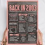 Holzbild Rosé Gold - Geschenk 18 Geburtstag 'Back in 2003' - personalisierbar zum Hinstellen/Aufhängen optional beleuchtet, 18 Geburtstag Frauen - Wand-Bild Aufsteller - persönliches Geschenk