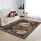Banniyouall Teppich für den Innenbereich, mittelalterlich, lustig, Vintage, weich, 91 x 152 cm, Weiß