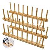 LZYMSZ Set mit 2 Bambus-Holz-Geschirrregalen, Tellerständer, Topfdeckelhalter, Küchenschrank-Organizer für Schüssel, Tasse, Schneidebrett und mehr