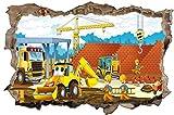 Bauarbeiter Baustelle Cartoon Kinder Wandtattoo Wandsticker Wandaufkleber D0874 Größe 70 cm x 110