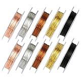 Kupferdraht Rolle für die Schmuckherstellung, 10 Rollen Gemischt Farbig Schmuckdraht 0,3 mm und 0,5 mm für DIY-Kunsthandwerk (10 Meter pro Rolle)