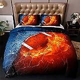 Kreativität Bettbezug Set König Queen Size,Bettdeckenbezug Twin Größe Bettwäsche Einzelnen Doppelbett,Weich Bettdeckenbezug 3d Gedruckt-Rugby+2 Kissenbezug 180x210cm(70.9x82.7inch)