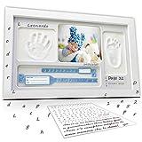 LALFOF Bilderrahmen 7IN1 mit baby handabdruck und fußabdruck mit NAMEN und Ablegefach.Neugeborenen geschenk baby abdruckset für Geburt.Geschenkidee für mama Großmütter oder Geschenkset