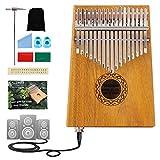 17 Keys EQ Kalimba Thumb Piano mit 3,5-mm-Audio-Schnittstelle, Tune Hammer, Holz Mbira Sanza Finger Piano, professionelle Musikinstrumente Geschenk für Kinder Erwachsene Anfänger (Color : Mahogany)