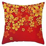 Agoble Kissenbezug, Bürostuhl Kissen Polyester 40X40cm 16'X16' Kissenbezug Gelb Orange Blume
