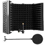 Mikrofon Isolation Schild, Mic Ton absorbierenden Schaum Schall Abdeckung aus Kunststoff Mikrofon Schall Schirm-Schwarz-Fünf-Tür mit Mikrofon Pop-F