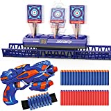 Elektrische Zielscheibe Beweglich für Nerf Pistole, Digitales Wertung Ziel mit 1 Kinder Gewehr, 40 Schaumstoff munition, Auto Zurücksetzen, Outdoor Spiel Kinder Spielzeug, Geschenk Junge 4-15 Jahre