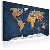 decomonkey | Weltkarte Pinnwand 120x80 cm Leinwand | Bilder Leinwandbilder Fertig aufgespannt auf Dicker 10mm Holzfasertafel Aufhängfertig Auch als Korktafel nutzbar XXL Format PWC0034a1XL