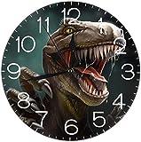 SBLB 3D Dinosaurier Runde Wanduhr geräuschlos nicht tickend batteriebetrieben 9,5 Zoll für Studenten Büro Schule Zuhause dekorative U