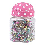 500Pcs Perlennadeln Multicolor Nadeln Quilten Pins in Pink Stoff bedeckt Pin Kissen Flasche Sewing Craft