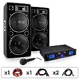 Skytec DJ-26 PA-Komplett-Set/lautstarke Musikanlage mit 2000 Watt PA-Boxen & Verstärker inkl. Kabel-Set + Mikrofon (für bis zu 250 Personen, 4 x30cm Subwoofer, 3-Band-Equalizer)