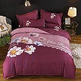 AZSOGOOD Schöne Blumenmuster-Bettdecke-Kissenbezug, gebürstete vierteilige Set von Frühlings- und Herbst-dicken Steppdeckenblechen, dekorieren Sie das Schlafzimmer-B_200 * 230 cm (4 stücke)