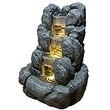 Zen'Light Rocky Zimmerbrunnen, Kunstharz, Grau, 24 x 21 x 34 cm