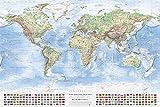 J.Bauer Karten Physische Weltkarte, 120x80 cm, englisch, Aktuell: Stand 2017