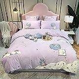 Bedding-LZ Winter bettwäsche Baumwolle-Dickes Cartoon Flanell Plus Daunen Bettwäsche Einzelbett Einzel King-Size-Bettbezug Kissenbezug Geschenk-F_2,0 m Bett (4 Stück)