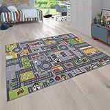 Paco Home Spielteppich Kinderteppich Kinderzimmer Straßenteppich Straßen Design, In Grau, Grösse:120x160 cm