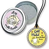 FANS & Friends Zahnfee-Box mit Goldmedaille, Baby Zahndose mit Zahnfee Halskette, e-Book, Zahnfee Dose, Baby Zähne Andenken Box
