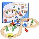 Holzbahnzug, multifunktionale Holzbahnwagen Doppelseitige Bahngleise mit Auto & Zug für Kinder ab 3 Jahren