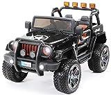 Actionbikes Motors Kinder Elektroauto Jeep Wrangler Offroad - 4x4 Allrad - USB - Sd Karte - 4 x 35 Watt Motor - 2-Sitzer - Rc 2,4 Ghz Fernbedienung - Elektro Auto für Kinder ab 3 Jahre (Schwarz)