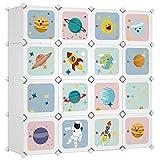 SONGMICS Kleiderschrank, DIY-Aufbewahrungsschrank, für hängende Kleidung, Aufbewahrung, für Kinder, mit 16 Würfeln, 4 Hängestangen, 123 x 41 x 123 cm, weiß LPC905W01