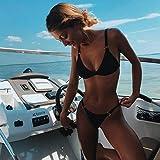 XUNHOU Klassischer Bequem Damen Badeanzug,Zweiteiliges Sexy Bikini-Set,Sommer-Dreieck-Badeanzug Beach Wear-Black_L,Einteiliger Bademode Tief-V Bikini