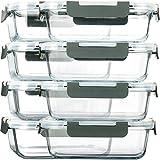 MCIRCO Lebensmittelbehälter, Glas, luftdicht, mit Deckel, BPA-frei, Mikrowelle, Ofen, Gefrierschrank und Geschirrspüler, 8 Stück