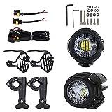 Renoble Motorrad Nebelscheinwerfer LED Zusatzscheinwerfer Zusatzlicht Blitzlichter Set Für Universal Und R1200GS F800GS Super Bright Mit Schutzgitter 3 Jahre G