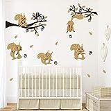 ufengke Wandtattoo Waldtiere Baum Wandsticker Wandaufkleber Braun Eichhörnchen für Kinderzimmer Dek