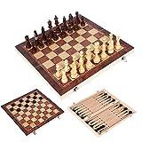 Schachbrettspiel Design 3 in 1 aus Holz Schach Backgammon Checkers Reisen Spiele Schachspiel Brett Drafts Unterhaltung (Color : 39x39cm)