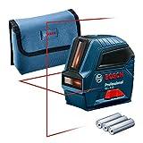 Bosch Professional Kreuzlinienlaser GLL 2-10 (roter Laser, Max. Reichweite: 10 m, 3x AA Batterien, Schutztasche, im Karton)