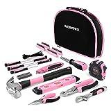 WORKPRO 103-tlg. Lady Werkzeug Set mit Tasche, Rosa Werkzeugkoffer Ideal Weihnachtsgeschenk für Frauen Bastler Handwerker