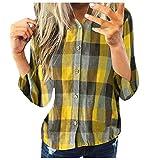 Hemd Top Frauen Mode Casual Langarm Plaid Shirt Slim Jacke (3XL,4Gelb)