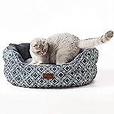 Bedsure Katzenbett waschbar für große Katzen - Katzen Bett grau mit Zweiseitig Innenkissen Katzenschlafplatz, 64x53x23cm für Katzen/Kleine Hunde