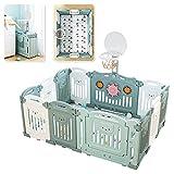 12 Stück faltbarer Laufgitter Baby Laufstall mit Tür und Spielzeugboard inkl. Matratze Laufgittereinlage aus Kunststoff Schutzgitter für Kinder