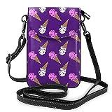 Multifunktionale Tasche aus Leder für Handy, Rucksack, leicht, elegant, Schulterriemen und verstellbarer Schulterriemen, Eiscreme-Motiv, Violett