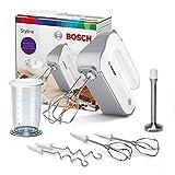 Bosch Handrührer Styline MFQ4075DE, 2 Rührbesen, 2 Edelstahl-Knethaken, spülmaschinengeeignet, Pürierstab, Mixbecher, 5 Stufen plus Turbostufe, 550 W, weiß/silber