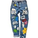 Fainash Damen Jeans mit Destroyed-Print Persönlichkeit Washed Trend Hohe Taille Lässige Streetwear Zerrissene Gerade Denim-Hose S